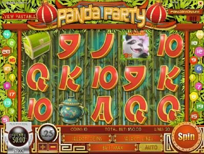 Paradise 8 featuring the Video Slots Panda Party with a maximum payout of $3,750