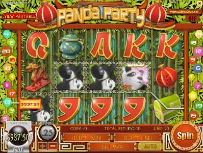 Supreme Play featuring the Video Slots Panda Party with a maximum payout of $3,750