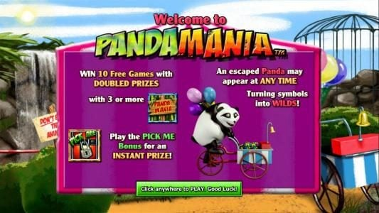 This game features 10 free games with prizes doubled. An escaped Panda may appear at any time turning symbols into wilds. Play the Pick Me Bonus for an Instant prize.