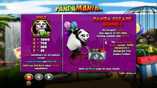 Wild symbol paytable and Panda Escape Bonus