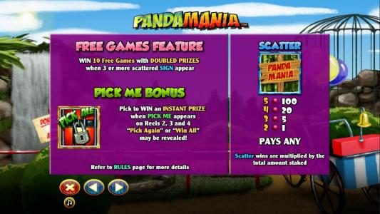 Free Game Feature, Pick Me Bonus and Scatter symbol paytable