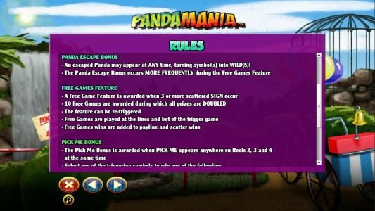 Panda Escape Bonus Rules and Free Games feature Rules