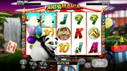 During the Panda Escape Bonus, the Panda moves across the screen changing symbols into wilds.