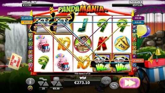 The Panda Escape Bonus leads to a $273 big win