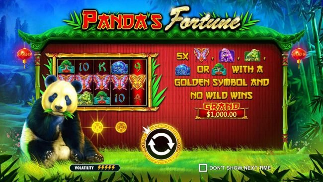 Play slots at Tangiers: Tangiers featuring the Video Slots Panda's Fortune with a maximum payout of $100,000