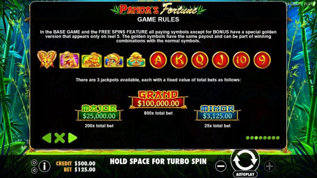 Winward featuring the Video Slots Panda's Fortune with a maximum payout of $100,000