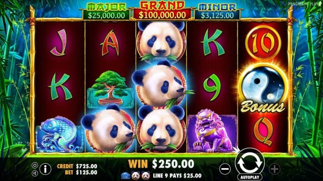 Spiral featuring the Video Slots Panda's Fortune with a maximum payout of $100,000