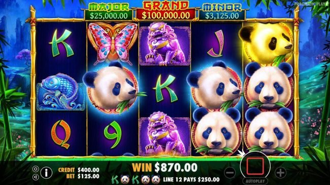 Casino States featuring the Video Slots Panda's Fortune with a maximum payout of $100,000
