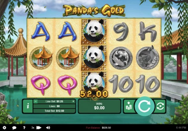 Vegas Spins featuring the Video Slots Panda's Gold with a maximum payout of $10,000
