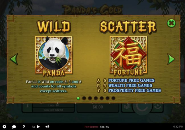 Panda's Gold :: Wild and Scatter Symbol Rules