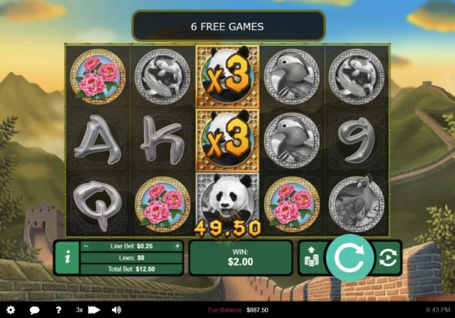 Panda's Gold :: Stacked reels triggers multiple winning combinations