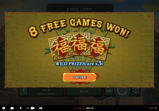 Panda's Gold :: 8 Free Spins Awarded