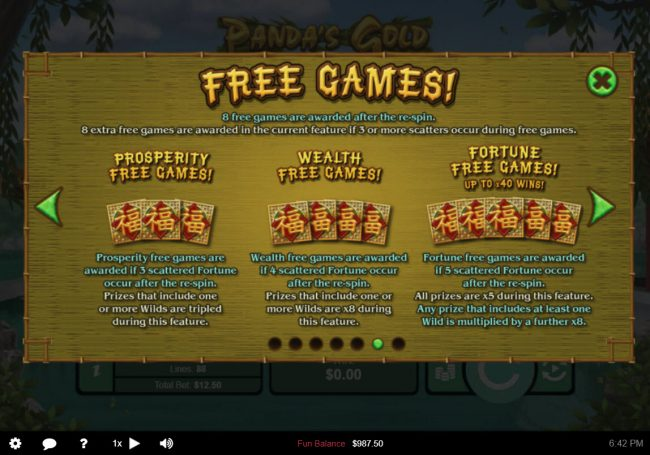 Rushmore featuring the Video Slots Panda's Gold with a maximum payout of $10,000