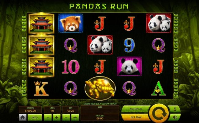 Royale24 featuring the Video Slots Pandas Run with a maximum payout of $200.00