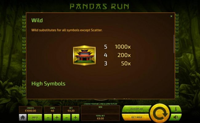 Superior featuring the Video Slots Pandas Run with a maximum payout of $200.00