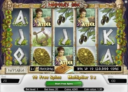 Playamo featuring the Video Slots Pandora's Box with a maximum payout of $40,000