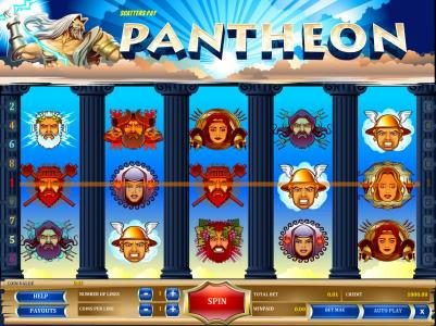 Pantheon :: main game board featuring five reels and nine paylines