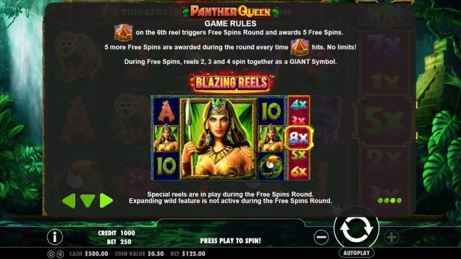 Panther Queen :: Pyramid on the 6th reel triggers Free Spins Round and awards 5 free spins. During Free Spins, reels 2, 3 and 4 spin together as a giant symbol.