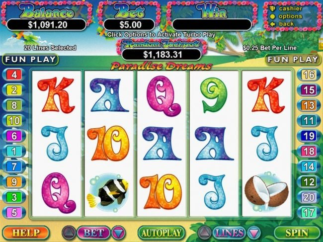 A paradise themed main game board featuring five reels and 20 paylines with a $250,000 max payout