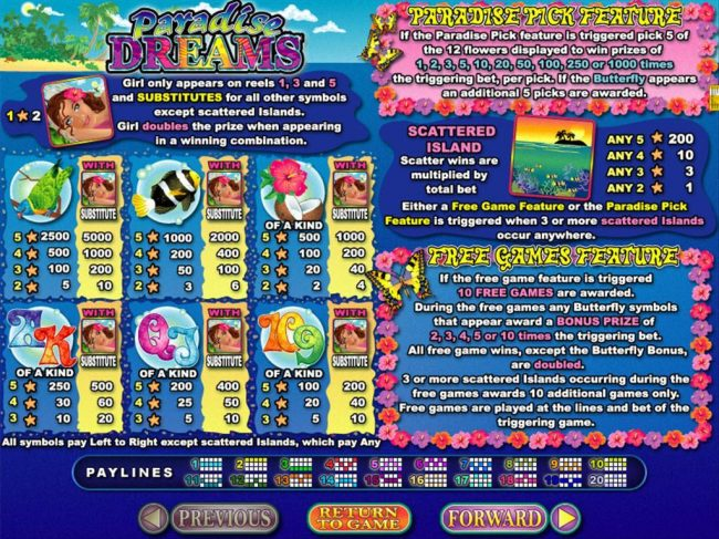 Slot game symbols paytable featuring tropical paradise inspired icons.