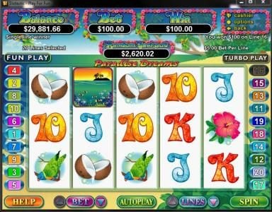ReelSpin featuring the Video Slots Paradise Dreams with a maximum payout of $250,000