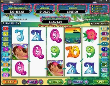 Lucky Red featuring the Video Slots Paradise Dreams with a maximum payout of $250,000