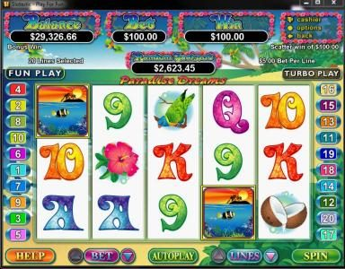Diamond Reels featuring the Video Slots Paradise Dreams with a maximum payout of $250,000