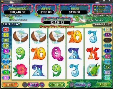 Royal Ace featuring the Video Slots Paradise Dreams with a maximum payout of $250,000