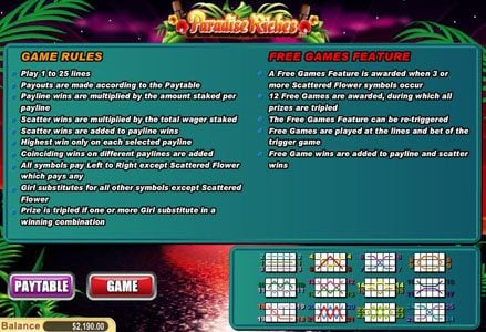 Lincoln featuring the Video Slots Paradise Riches with a maximum payout of $100,000
