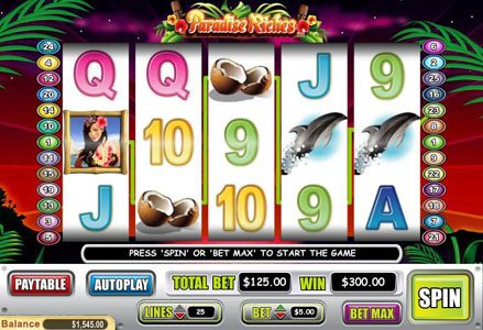 Liberty Slots featuring the Video Slots Paradise Riches with a maximum payout of $100,000