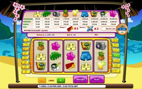 Paradise Suite :: Main game board featuring five reels and 15 paylines with a $50,000 max payout