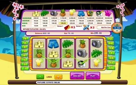 Paradise Suite :: A pair of winning paylines triggers a 295.00 big win