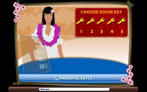 Paradise Suite :: Choose a room key to reveal your prize award.