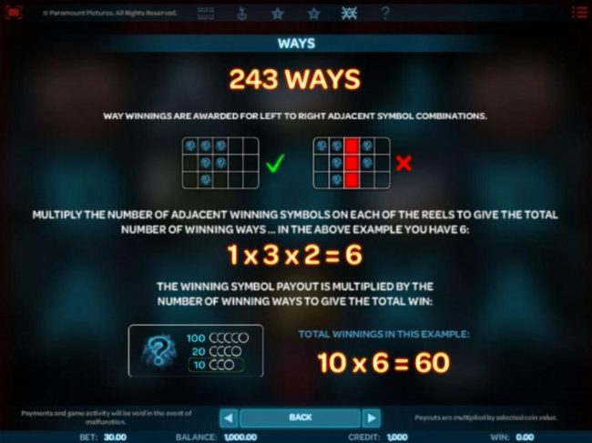 243 Ways - Way winnings are awarded from left to right on adjacent symbol combinations.