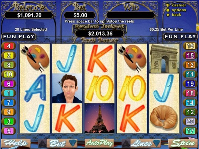 Slots of Vegas featuring the Video Slots Paris Beauty with a maximum payout of $250,000