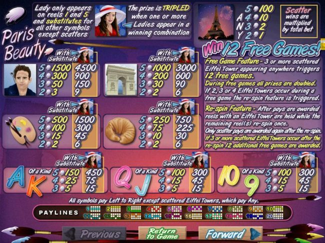 Club Player featuring the Video Slots Paris Beauty with a maximum payout of $250,000
