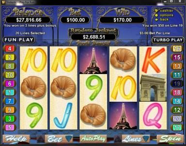 Ruby Slots featuring the Video Slots Paris Beauty with a maximum payout of $250,000