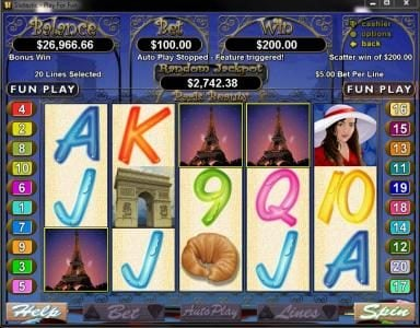 Casino Brango featuring the Video Slots Paris Beauty with a maximum payout of $250,000