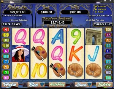 Cafe featuring the Video Slots Paris Beauty with a maximum payout of $250,000