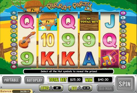 Intertops Classic featuring the Video Slots Parrot Party with a maximum payout of $125,000