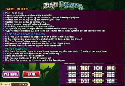 Play slots at Lincoln: Lincoln featuring the Video Slots Tarot Treasure with a maximum payout of $100,000