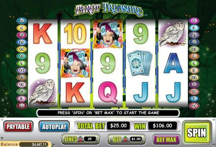 Red Stag featuring the Video Slots Tarot Treasure with a maximum payout of $100,000