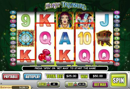 Lincoln featuring the Video Slots Tarot Treasure with a maximum payout of $100,000