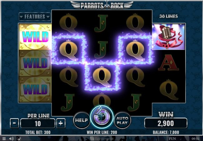 X-Bet featuring the Video Slots Parrots Rock with a maximum payout of $45,000