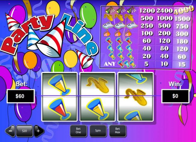 Party Line :: Main game board featuring three reels and 1 payline with a $60,000 max payout