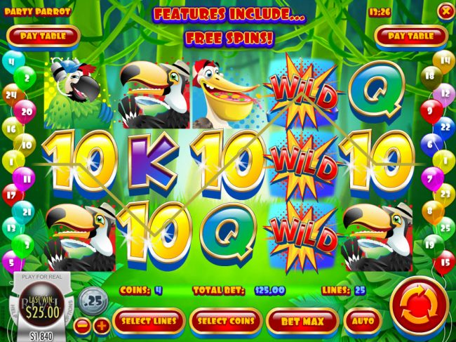 Winbig21 featuring the Video Slots Party Parrot with a maximum payout of $50,000