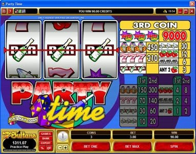 Chanz featuring the Video Slots Party Time with a maximum payout of $135,000