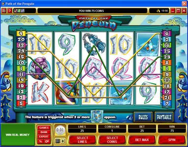 Fika Casino featuring the Video Slots Path of the Penguin with a maximum payout of $30,000