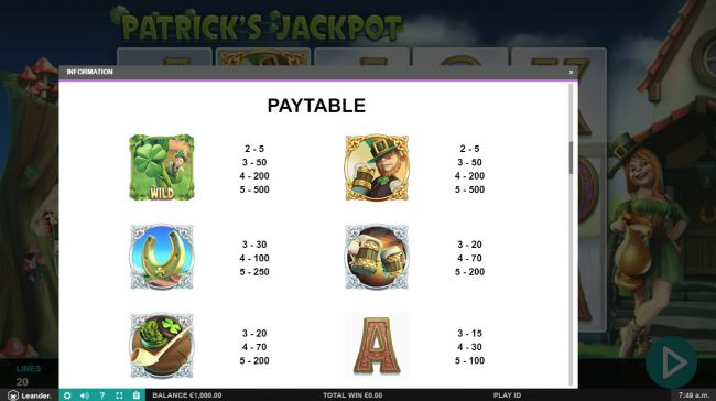 Dragonara featuring the Video Slots Patrick's Jackpot with a maximum payout of $10,000
