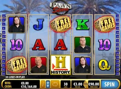 Three Free Games scatter symbols trigger the Pawn Stars Free games Feature